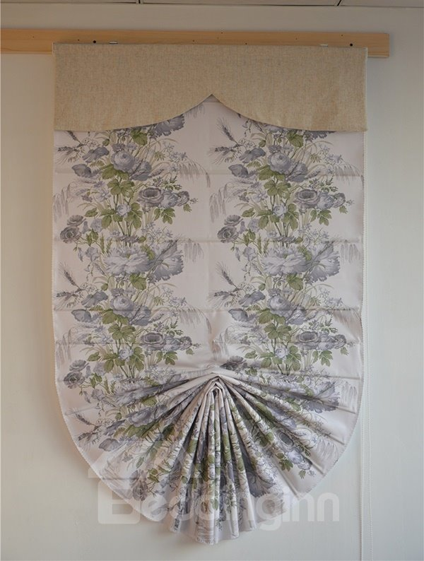 Country Gorgeous Blooming Rose Print Roman Shades