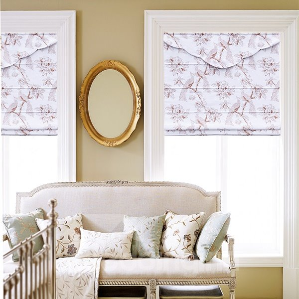 European Style Bird and Flower Print Roman Shades