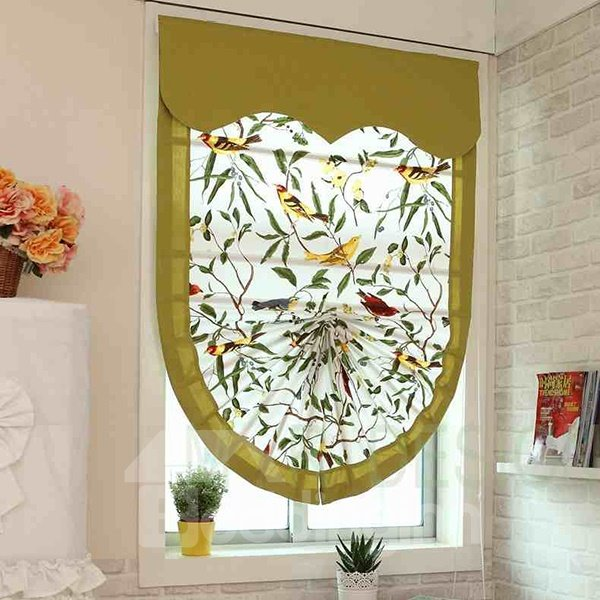 Bird Pattern Scalloped Custom Roman shades