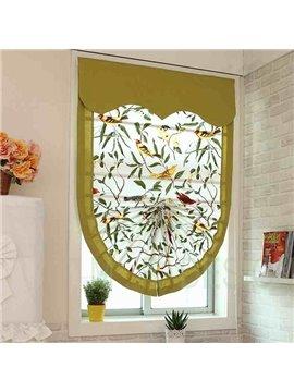 Bird Pattern Fan-Shaped Custom Roman shades