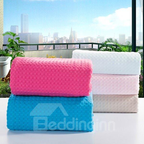 Stylish Solid Blue Jacquard Cotton Towel Quilt