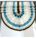 Concise Blue and Green Stripes Blending Roman Shades