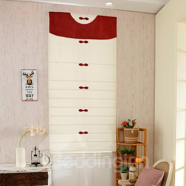 Chinese Knots Applique White Roman Shades With Red Valance