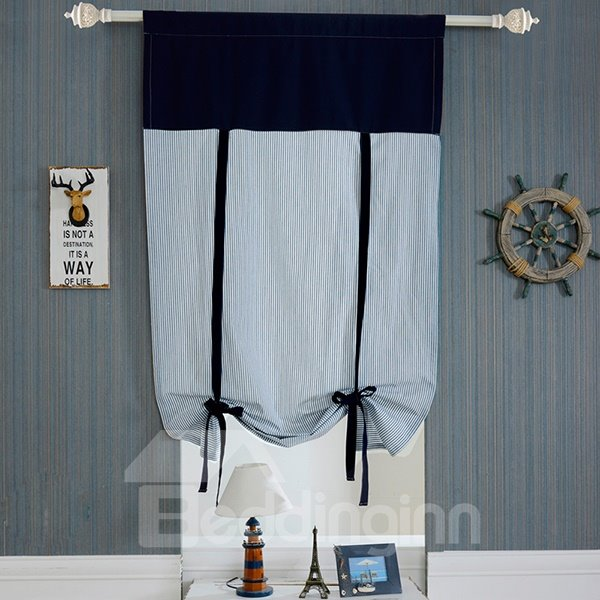 Modern Decoration Blue Stripes Tie-Up Roman Shades