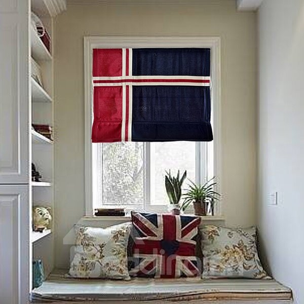 European Style Blue and Red Stripes Cotton and Linen Blend Flat-Shaped Roman Shades