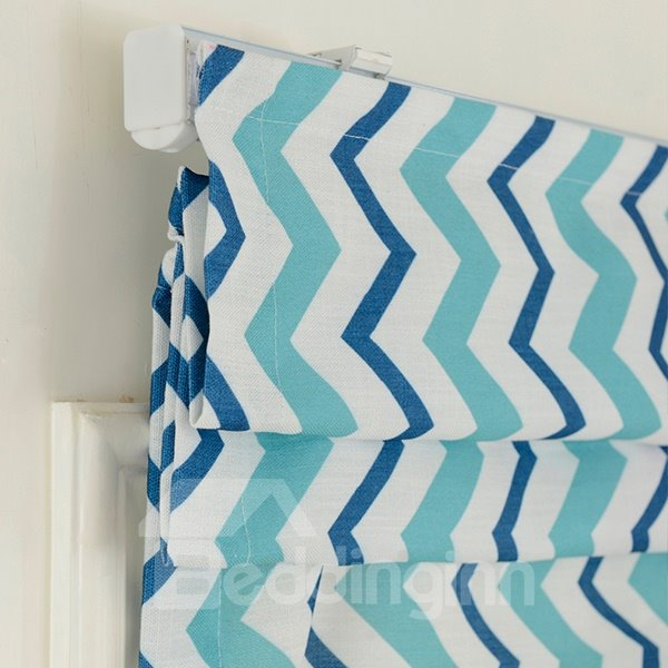 American Blue and White Wavy Stripes Blending Roman Shades