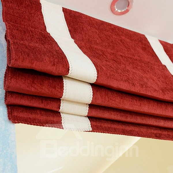 Fashion Red Chenille Flat-Shaped Roman Shades