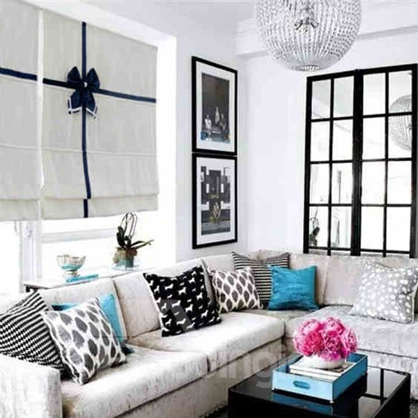 Designer Concise White Flat-Shaped Roman Shades with Blue Bow