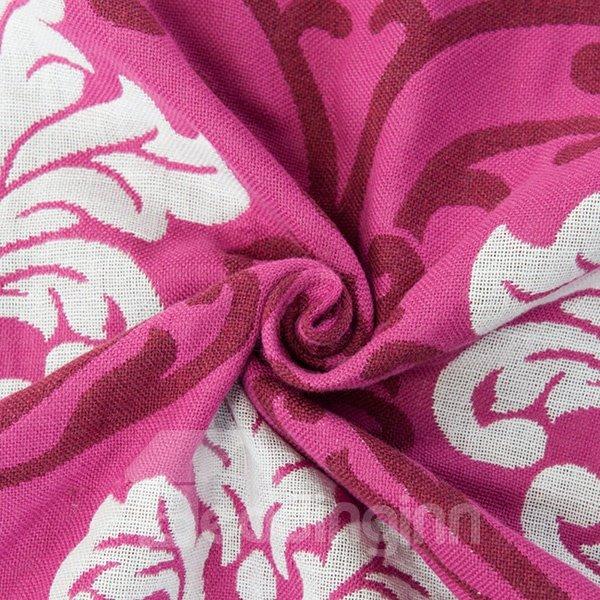 Beautiful Auspicious Flower Red Cotton Jacquard Towel Quilt