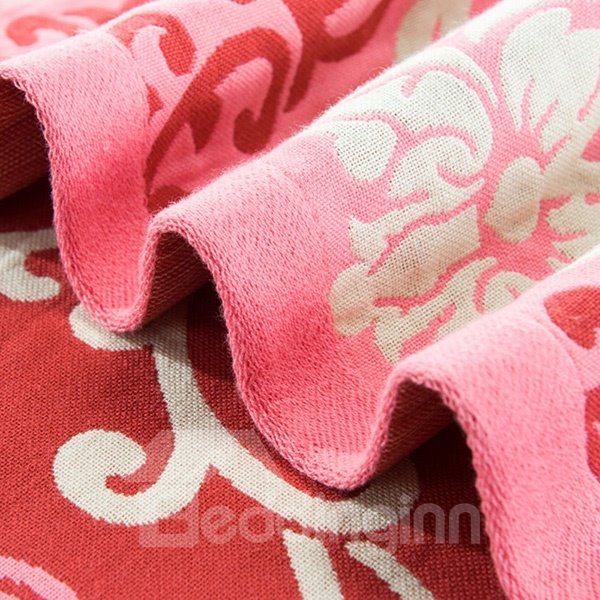 Unique Auspicious Flower Fuchsia Pink Cotton Jacquard Towel Quilt