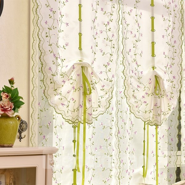 Free Shipping Country Green Vine Embroidery Sheer Tied-Up Roman Shades