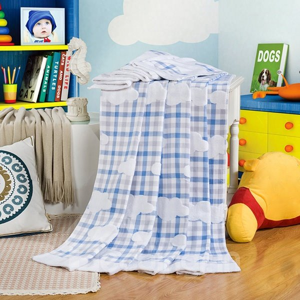 Elegant Yarn Stereo Cloud Blue Plaid Cotton Towel Quilt