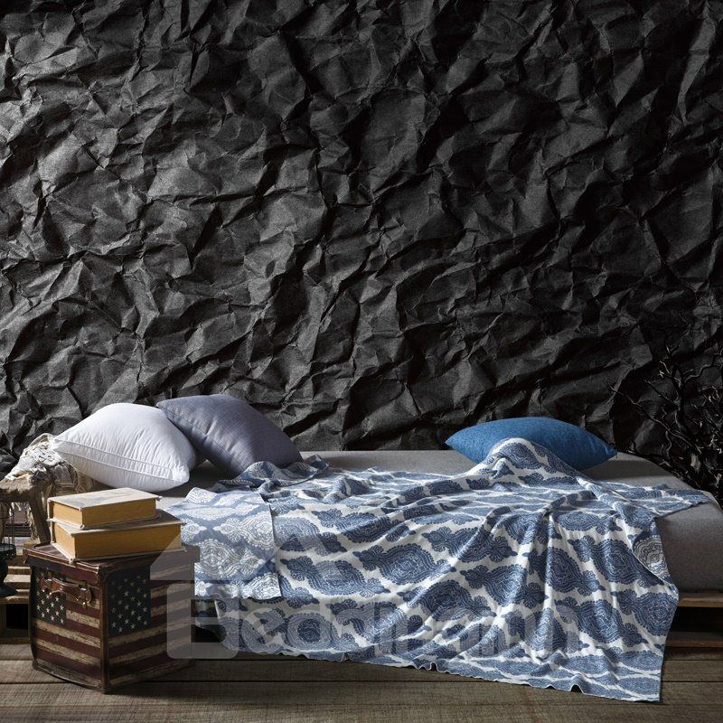 Exquisite Damask Pattern Dark Blue Cotton Knitted Blanket