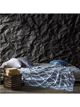 Exquisite Damask Pattern Dark Blue Cotton Knitted Blanket