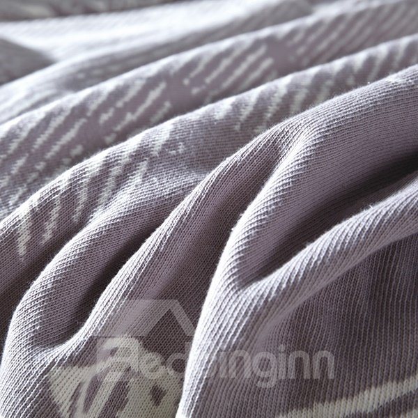 Durable Eiffel Tower Light Gray Reversible Cotton Knitted Blanket