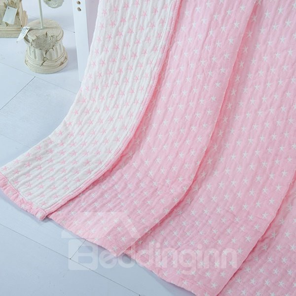 Fancy Dreamy Starfish Jacquard Pink Cotton Towel Quilt