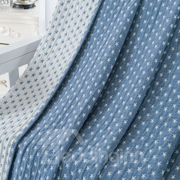 Comfortable and Soft Starfish Jacquard Blue Cotton Towel Quilt