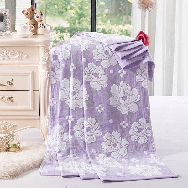Noble Peony Pattern Jacquard Purple Cotton Towel Quilt