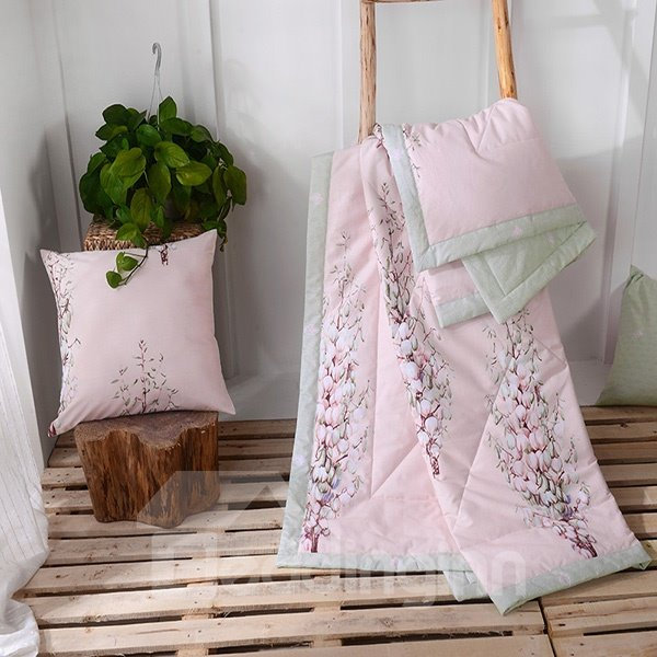 Chic Flowers Print Pink Cotton Air Conditioning Quilt