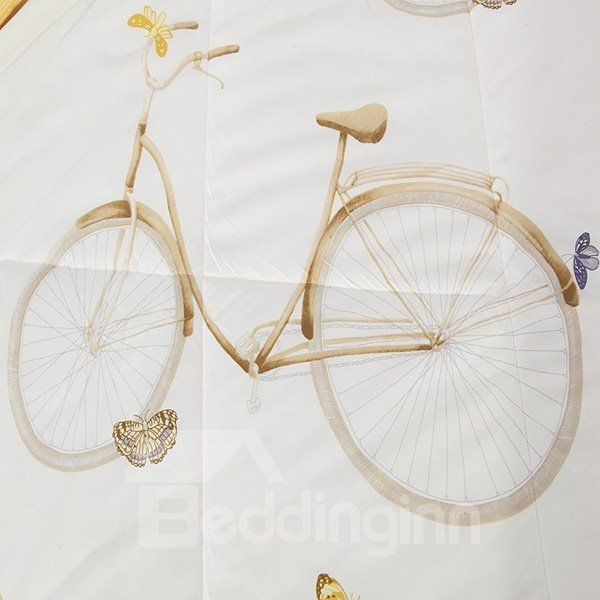 Stylish Bicycle and Floret Print Cotton Summer Quilt