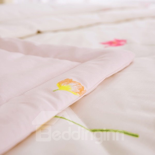 Lightweight Elegant Flower Print Cotton Quilt