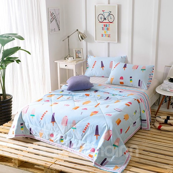 Fancy Delicious Ice Cream Print Blue Cotton Quilt