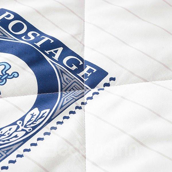 Popular Nautical Theme Print Navy Blue Cotton Quilt