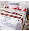 Fashionable London Bus and Stripes Print Cotton Quilt