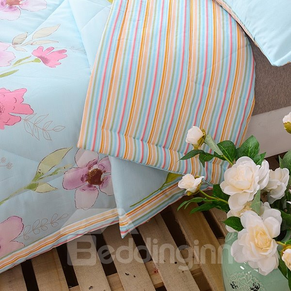 Super Soft Pansy Print Cotton Air Conditioning Quilt
