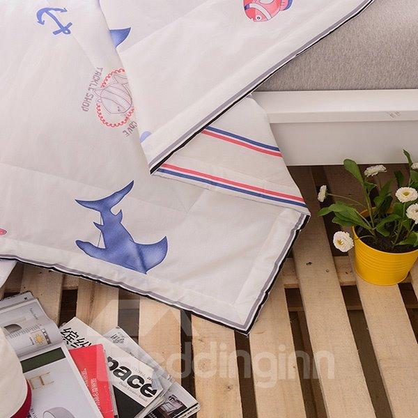 Splendid Lovely Cartoon Shark Print Cotton Quilt