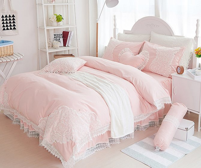 Stylish Lace Dreamy Pink 4-Piece Cotton Bedding Sets/Duvet Cover