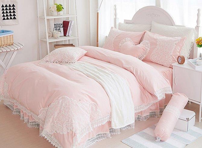Stylish Lace Dreamy Pink 4-Piece Cotton Bedding Sets/Duvet Cover