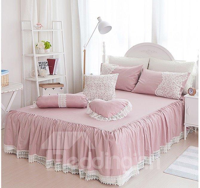 Elegant Cameo Brown Lace Embellishment 4-Piece Cotton Duvet Cover Sets