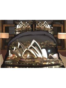 Splendid Sydney Opera House 3D Print 4 Piece Polyester Duvet Cover Sets