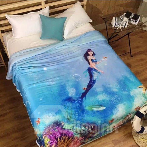 Stylish Mysterious Mermaid Print Blue Tencel Quilt