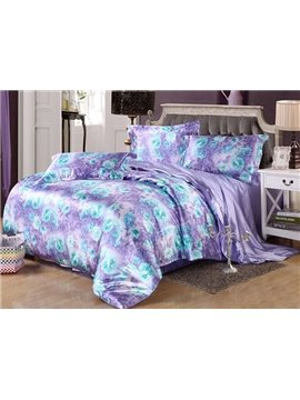 Luxury Purple Floral Print Silk-like 4-Piece Duvet Cover Sets