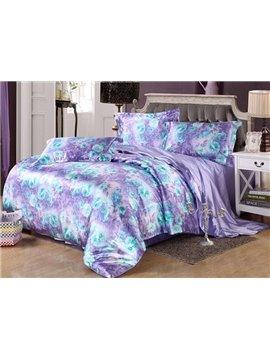 Luxury Purple Floral Print Silk-like 4-Piece Duvet Cover Sets