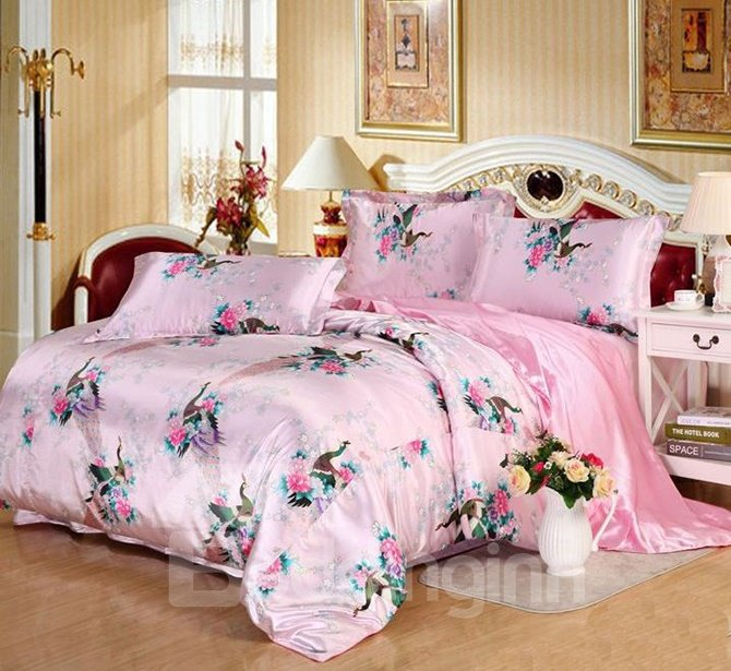Graceful Pink Peacock Print Silk-like 4-Piece Duvet Cover Sets