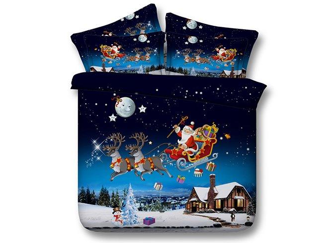 Santa Claus Under the Moonlight Print 5-Piece Comforter Sets