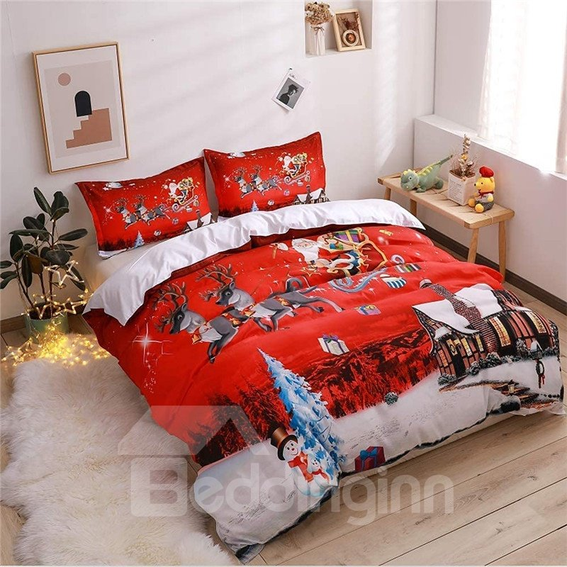 Vibrant Red Santa Claus Christmas Scene Print 5-Piece Comforter Sets