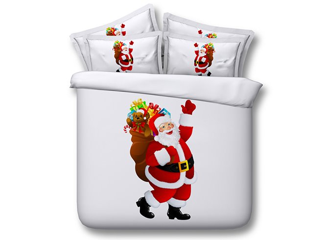Classic Santa Claus Print 4-Piece Duvet Cover Sets