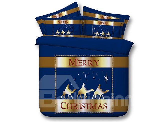 3D Merry Christmas Printed Cotton 4-Piece Blue Bedding Sets/Duvet Covers