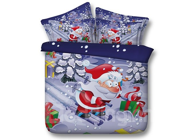 Santa on Skis Print 4-Piece Duvet Cover Sets
