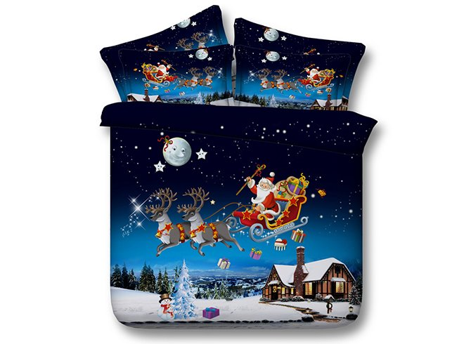 Santa Sleigh Reindeer Flying Over Winter Countryscape Printed Cotton 3D 4-Piece Bedding Sets