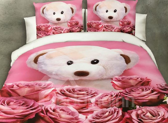 Lovely Bear Doll and Rose Print 4-Piece Polyester Duvet Cover beddinginn
