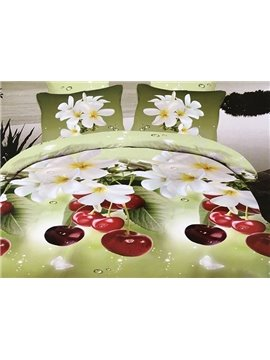 Refreshing White Flowers and Cherry Print 4-Piece Polyester Duvet Cover