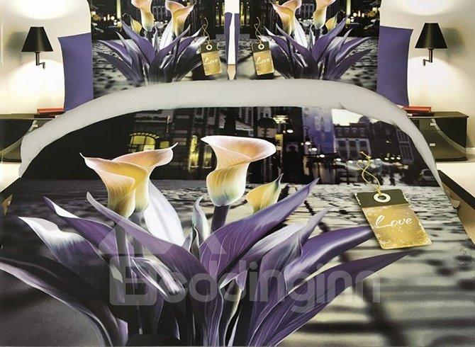 Popular Calla Print 4-Piece Polyester Duvet Cover