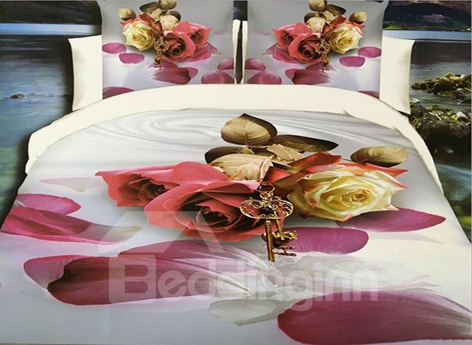 Noble Roses and Key Print 4-Piece Polyester 3D Duvet Cover