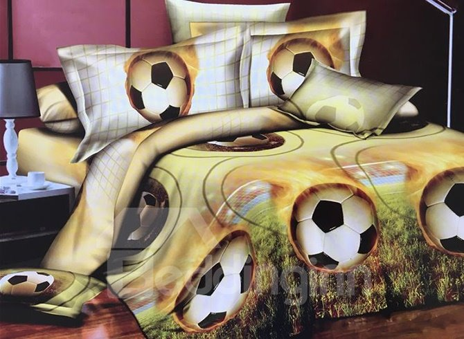 Fancy Soccer Print 4-Piece Polyester 3D Duvet Cover