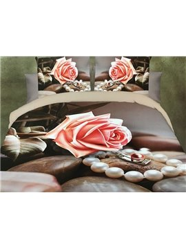 Pink Rose and Pearl Print 4-Piece Polyester 3D Duvet Cover